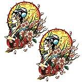 Oottati 2 Sheets Arm Leg Waterproof Fake Temporary Tattoos Sticker Cherry Blossom Japanese Geisha Girl