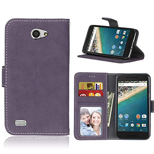Sangrl Libro Funda para LG Bello 2 / LG Prime II, PU Cuero Cover Flip Soporte Case [Función de Soporte] [Tarjeta Ranuras] Cuero Sintética Wallet Flip Case Púrpura