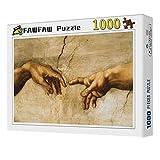 FAWFAW 1000 Piece Wooden Jigsaw Puzzles Adán Y Eva, Creación De Adán, Brain Challenge Kids Toy Games