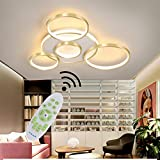 Lámpara LED de techo para salón, moderna, redonda, decorativa, de metal, con pantalla de acrílico, con mando a distancia, regulable, para mesa de comedor, dormitorio, oficina, cocina,