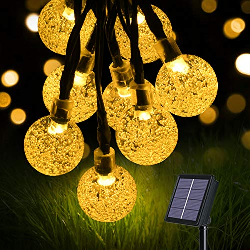 flintronic Cadena de Luces Led Solar, Guirnaldas Luces Exterior, 36ft/11m 60LED Guirnalda Solar LED Bola de Cristal Luces Decorativa para Jardín, Terraza, Boda, Árbol de Navidad, Fiesta, Patio