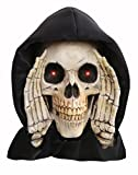 Halloween Scary Black Hooded Peeper Creeper Skeleton Grim Reaper with Red LED Lighted Eyes - Haunted House Window Cling Prop Decoration Display