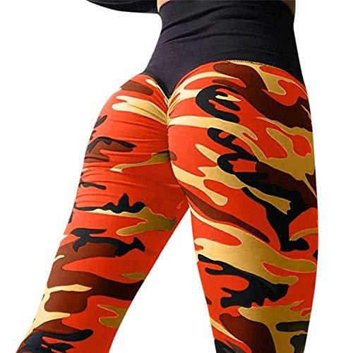 FFSMCQ Leggings Damen Damenmode-Tarnung Leggings Trainingshose Fitness Sport-Gymnastik-Rennen Sporthose,Orange,XL