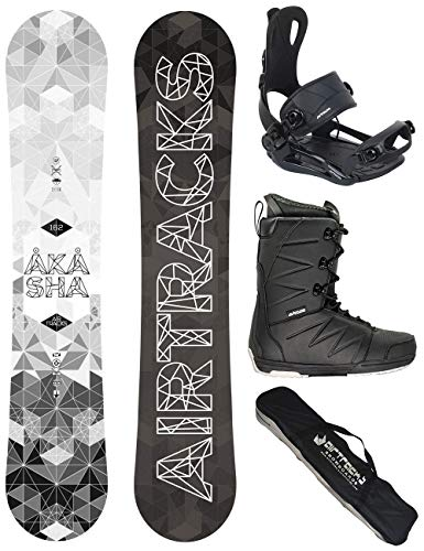 Airtracks Snowboard Set - Wide Board Akasha Wide 157 - Softbindung Master - Softboots Strong 45 - SB Bag