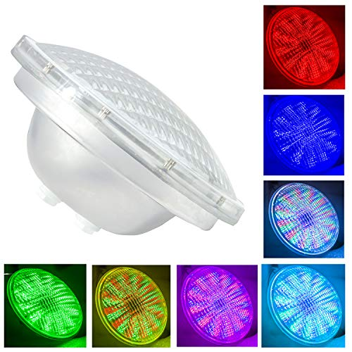 PAR56 LED Piscine,54W AC 12V RGBW Télécommande Ampoule LED Piscine PAR56,Replace 300-500W Halogen Spotlight,IP68 Imperméable (Par56 54W-RGB)