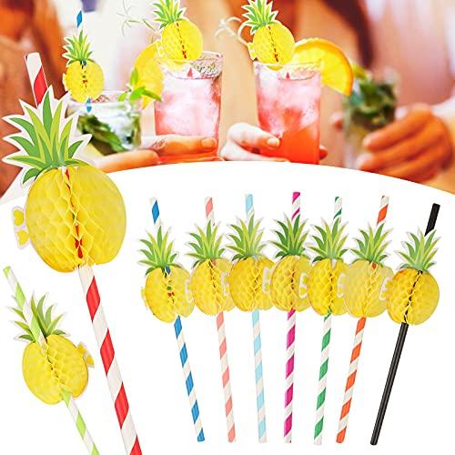 Yisscen 50 Stück Trinkhalme aus Papier, Cocktail Strohhalme 3D Papier Strohhalme, Ananas Strohhalmen für Tropical Drinks Strand Geburtstag Hochzeit Hawaii Party Deko zubehör