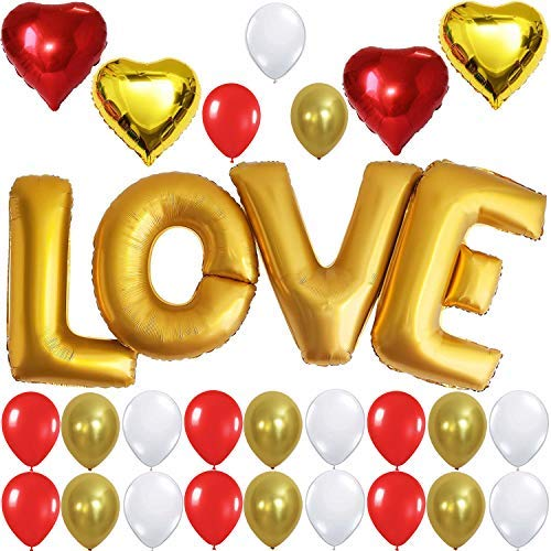 Gold LOVE Balloons Decorations Set - Xtra Large, 40 Inch, Pack of 29 | Gold Love Letter Foil Balloon | Mylar Heart Shape Balloons | Red, White Latex Balloons, Love Balloons Valentines Day Decorations