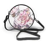 Bolso de mano con diseño de flores rosas y hojas, estilo vintage, de piel sintética, con cremallera, redondo, para trabajo, viajes, citas, personalizado, para mujeres