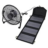 VGEBY Solar Panel Powered Fan, 7W 5.5V High Efficiency Solar Panel Fan with Dual USB Port for Camping Travel Fishing