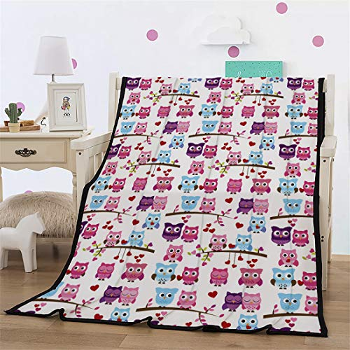 Leichte Flanell Decke, Morbuy Kuscheldecke Sofadecke Bettüberwurf Erhältlich Decke Tagesdecke Decke für Sofa und Bett Falten-beständig Schmusedecke (150x200cm,Eule)