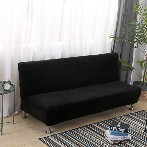 Super Plush Velvet Armless Sofa Slipcover Stretch Folding Bed Covers Solid Color Decorative Wear Resistant One Piece T Cushion Futon Furniture Protector Wrap Black