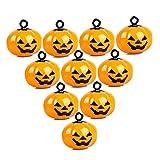 IDOXE 10Pcs Mini Pumpkin Bells Jack O Lantern Head Jingle Beads Pet Collar Charm Bells DIY Halloween Decorations Ornament Jewelry Findings Charms Pendant