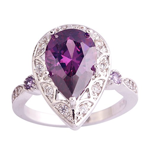 Psiroy 925 Sterling Silver Created Amethyst Filled Pear Shaped Halo Anniversary Rings Size 6