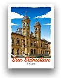 San Sebastian Espana Reise-Poster im Art-Deco-Stil,