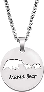 KUIYAI Sweet Mama and Baby Bear Round Pendant Necklace for Mother