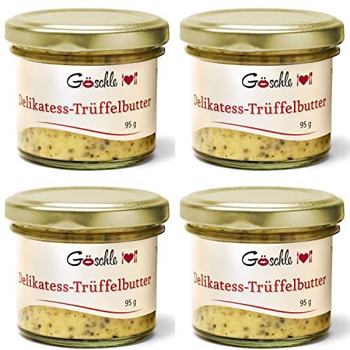 Die Trüffelmanufaktur - Feinkost 4er Set Trüffelbutter mit 15{d7feef7bffc5e646c0eddf706ad6086e6f2ab781fee981558c10ad4ded07d6a6} echtem frischen schwarzem Trüffel, die Delikatesse für Feinschmecker, weiße Trueffel-Butter im Glas á 95 g, Vorratspack 360 g