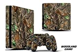 247 Skins Graphics kit Sticker Decal Compatible with PS4 PlayStation 4 SLIM and Dualshock Controllers - Woodland Camo