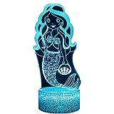 Regalos De Sirena 3D, Decoración De Juguetes, Luz Led De Noche con Control Remoto, Lámpara De Noche De 16 Colores RGB, Brillo Ajustable con Toque Inteligente, Decoración De Regalo De Cumpleaños