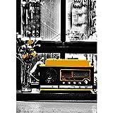 Yiwuyishi Póster de Lienzo de Paisaje, Arte de Pared, Blanco y Negro, autobús Amarillo, automóvil, Pinturas, Cuadro de construcción, Arte de Pared de Sala de Estar 50x70cm P-1638