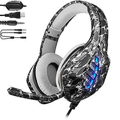 YJY J1 Gaming Headset for PS4, PC, Xbox One Controller, Nintendo Switch, iPad,Mac, Laptop, Noise Cancelling Over Ear Headphones with Mic, LED Light, Bass Surround Soft Memory Earmuffs,Camo