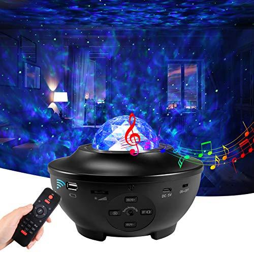 LED Sternenhimmel Projektor,Petrichor Galaxy Sternenlicht Projektor Lamp 360° Drehung Nachtlicht Baby mit Fernbedienung Voice Kontrolle Timer Bluetooth Lautsprecher, für Erwachsene/Kind