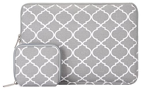 MOSISO Canvas Geometric Pattern Sleeve Bag Compatible with 14-15 inch Laptop with Small Case, Pure Gray Quatrefoil