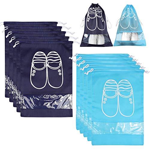 NEWSTYLE 10 Pcs Sac à Chaussures,Sacs de Voyage Respirants Sacs Organisateurs, Drawstring Portable Anti-poussière avec Fenêtre Transparente (Bleu foncé & lumière Bleue)