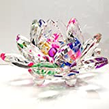 Amlong Crystal 3 inch Sparkle Crystal Lotus Flower Feng Shui Home Decor with Gift Box