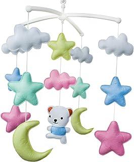 Un ours mignon Jouet de décoration de lit bébé Mobile musical musical pour berceau fait main en tissu non tissé
