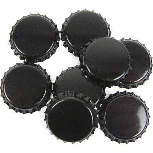 Dekohelden24 100 Kronkorken schwarz - neu - ungestanzt - zum Bier selber brauen und zum verschließen jeglicher Standartflaschen