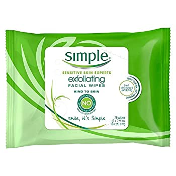 Simple Exfoliating Facial Wipes 25 Each  Pack of 5