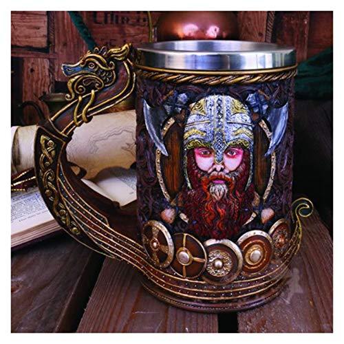 JSJJAQA Taza Taza del cráneo del Pirata Edad Medias Gourde 3D Resina de Acero Inoxidable de la Resina Taza de la Cerveza Tazas de café y Tazas Beber decoración de Pascua