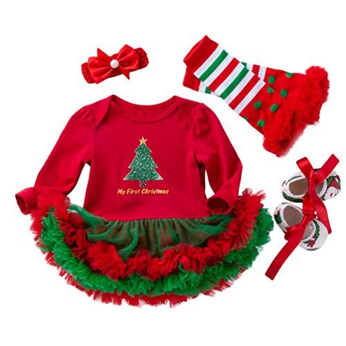 YuanDian Bebè Bambina 4pcs Natale Costume Completini Set Partito Vestiti Neonato Battesimo Babbo Natale Abbigliamento Tutina Abiti + Fascia + Leggings Caldo + Scarpa 4# Albero Verde Scarpe 0-3 Mesi