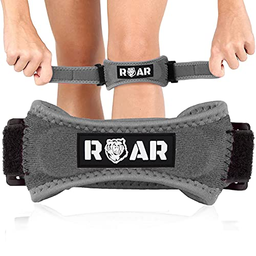 Roar Pack 2X Rodillera Cinta Rotuliana, Rodillera Menisco, Cincha Rotuliana, Rodilleras Menisco y Ligamento, Rodillera Neopreno, Rodillera para Menisco, Rodilleras Condromalacia Rotuliana (Gris)