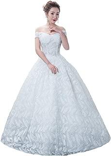 Bride Off Shoulders Wedding Dress Elegant Princess Feather Skirt Formal Ball Gown beautiful