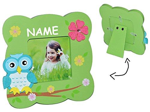 Unbekannt Fotorahmen / Bilderrahmen Holz grün - Eulen mit 1 Bild zum Hinstellen - incl. Namen - Tischausteller - Deko für Kinder + Erwachsene - Kinderzimmer Eule Kind T..