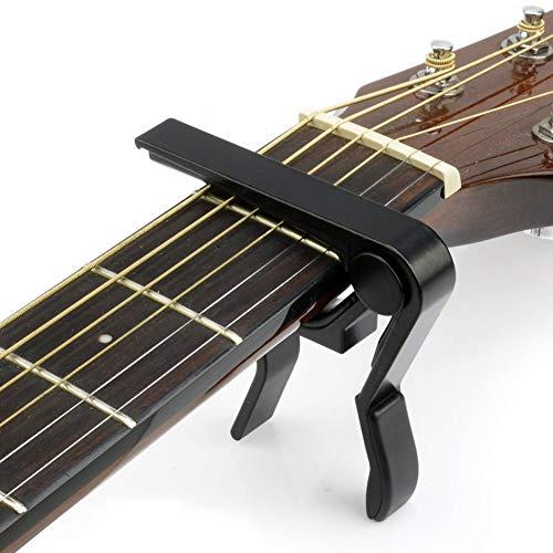 Debonice Afinador de Guitarra,Afinador Digital Española con Clip,Sintonizador 360°Rotación LCD Para Guitarra Bajo Violín Ukulele, (Afinador+Capo)