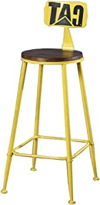 ZHJBD Furniture Stool High Stools Chair Wooden for Kitchen Office American Wrought Iron Loft Bar Stool Bar Stool Chair Solid Wood High Bench Modern Minimalist Chair Kitchen High Stool Chair Yellow