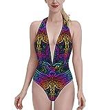 Bañadores Colorful Hippie Neon Mandala Dragonfly Art Sun Bikini de una Pieza con Cuello en V para Mujer, Sujetador con Relleno, Traje de baño en la Playa S