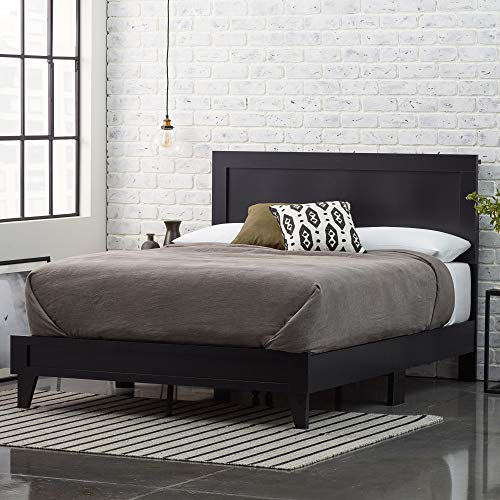 Everlane Home, Black Weston Wood Bed Platform, Queen,