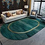 Wohnzimmer Schlafzimmer dekorativer Teppich-Grünes goldgelbes ovales Muster, weich im Griff des Kinderspielteppichs - 160 * 230 cm