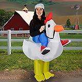 Pollo bianco costume con cappello Include ventola incorporata Realizzato in nylon Adulti taglia (taglia unica) Richiede 4 batterie AA (non incluse)