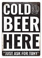 パーソナライズされた冷たいビール メタルポスター壁画ショップ看板ショップ看板表示板金属板ブリキ看板情報防水装飾レストラン日本食料品店カフェ旅行用品誕生日新年クリスマスパーティーギフト