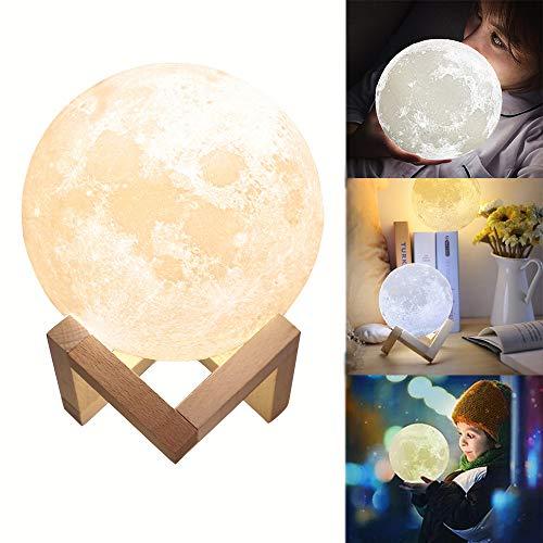 GreenSun LED Lighting Lampe 3D tactile 15 cm Lumière de lune Portable Veilleuse USB Lade Ambiance Eclairage pour Chambre Café et Cadeaux de l'enfant