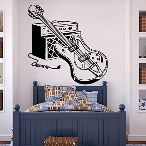 Elektrische Gitaar Muursticker Voor Jongens Kamer Rockmuziek Pop Decor Vinyl Muurtattoo Voor Slaapkamer Grote Muurstickers Verwijderbare 57X57Cm