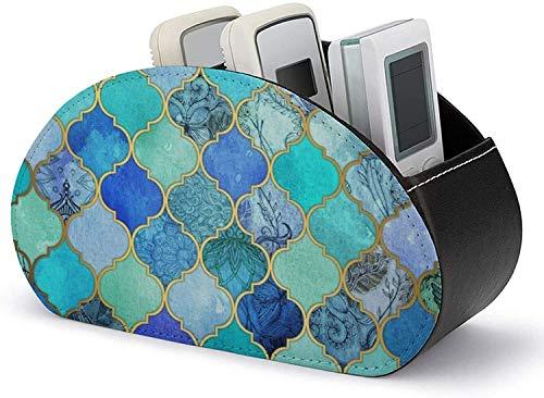 Remote Caddy Desktop - Soporte para control remoto Cuero de PU Azul cobalto Patrón de azulejos marroquíes Mesa Organizador de almacenamiento de escritorio con 5 compartimentos espaciosos Almacene lo