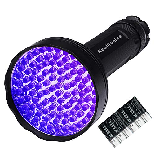 UV Black Light Flashlight,100 LED UV Flashlights With Free Batteries, Super Bright Ultraviolet Flashlight Professional Blacklight Dried Pet Urine Detector for Dog Cat, Scorpions Hunting (100 led)