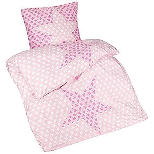 Aminata Kids schöne Bettwäsche-Set Sterne-Motiv 135 x 200 cm + 80 x 80 cm Männer, Damen & Jugendliche aus Mikrofaser mit Reißverschluss, unsere Kinder-Bettwäsche mit Stern-Motiv, pink, rosa Stars