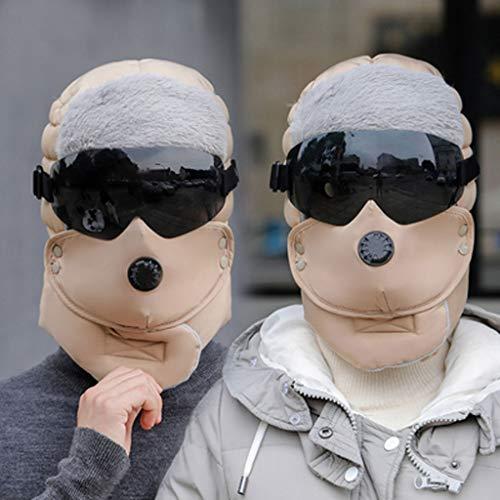 Jiaan bivakmuts van wol, uniseks, winddicht, voor sport in de open lucht of motorrijden met capuchon voor het koude gezichtsmasker voor mannen en vrouwen