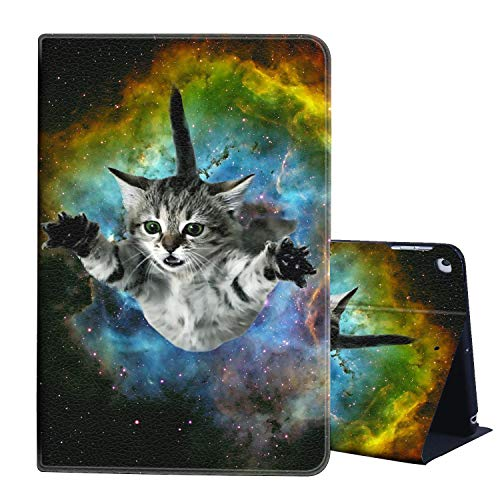 iPad 8th Gen Case 2020,iPad 7th Genneration 10.2 Case,AIRWEE Slim Lightweight Stand Cover with Auto Wake/Sleep for Apple iPad 10.2 Inch 2019/2020,Funny Galaxy Cat Space